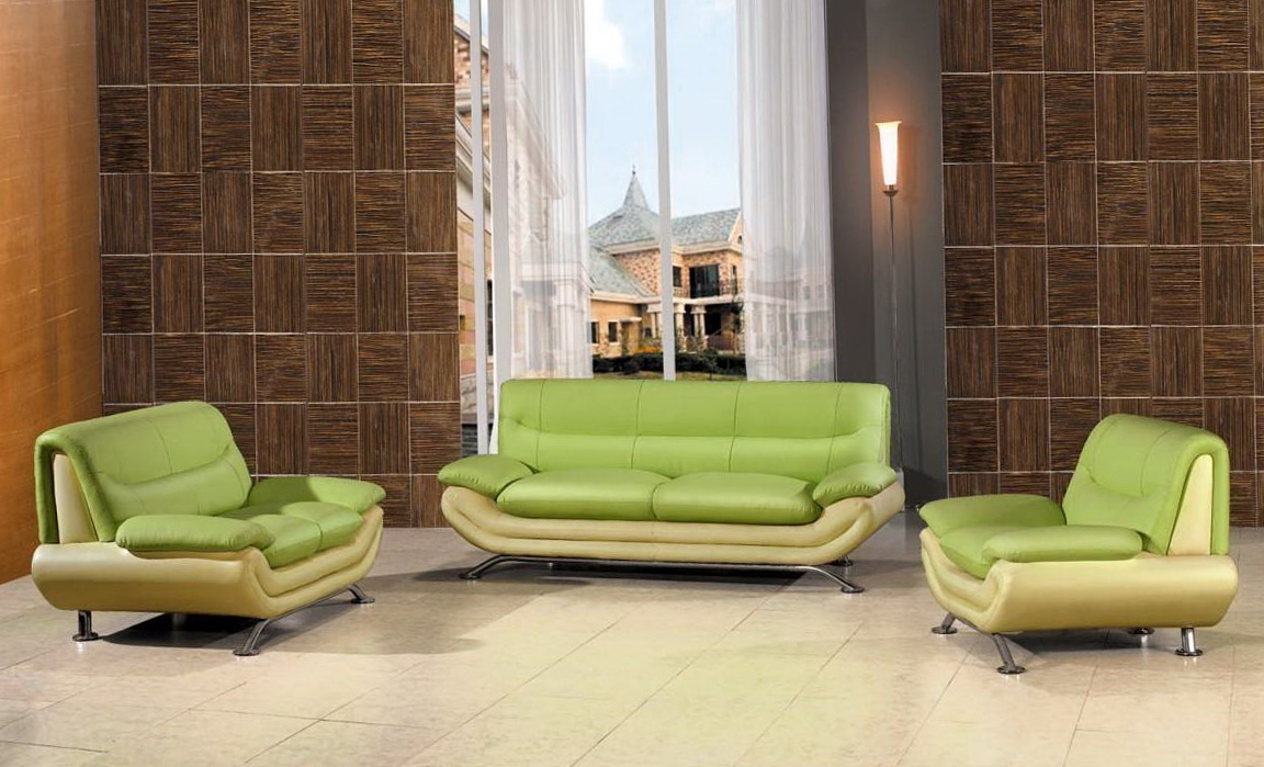 Green Leather Living Room Set