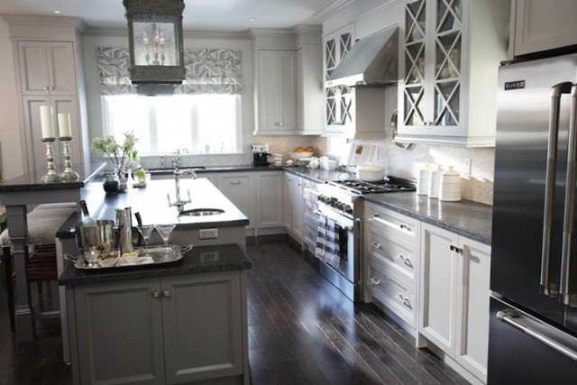 Grey Kitchen Cabinets Black Countertop