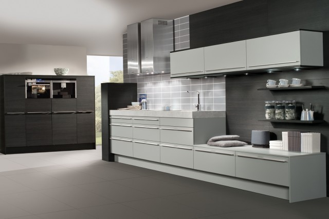 Grey Kitchen Cabinets With Black Appliances