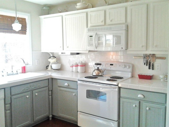 Grey Kitchen Cabinets With White Appliances