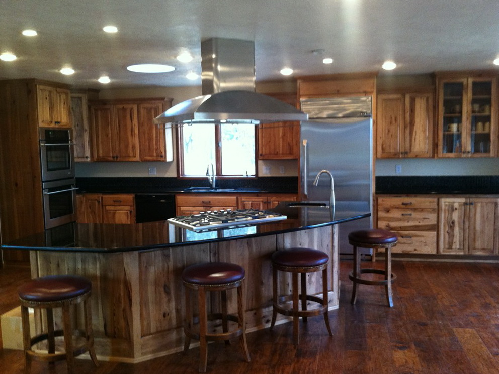 Hickory Kitchen Cabinets With Dark Countertop