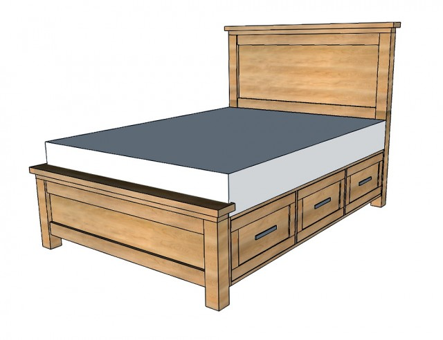 King Bed Frame With Storage Plans