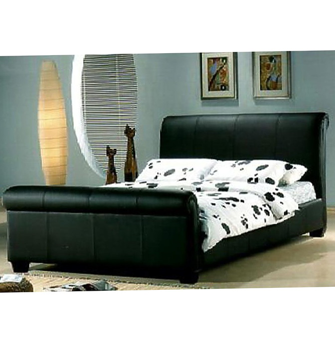King Sleigh Bed Leather Headboard