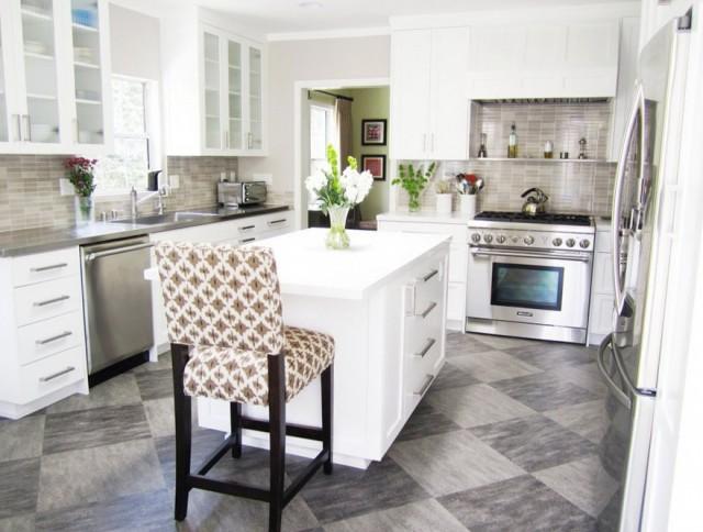 Kitchen Floor Tile White Cabinets