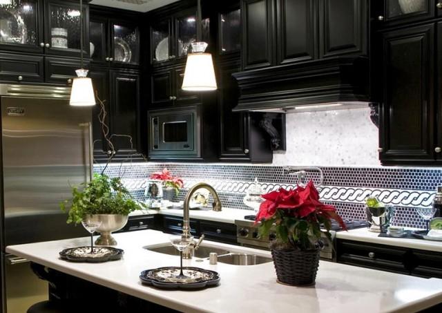 Kitchen Tile Backsplash Ideas With Black Cabinets