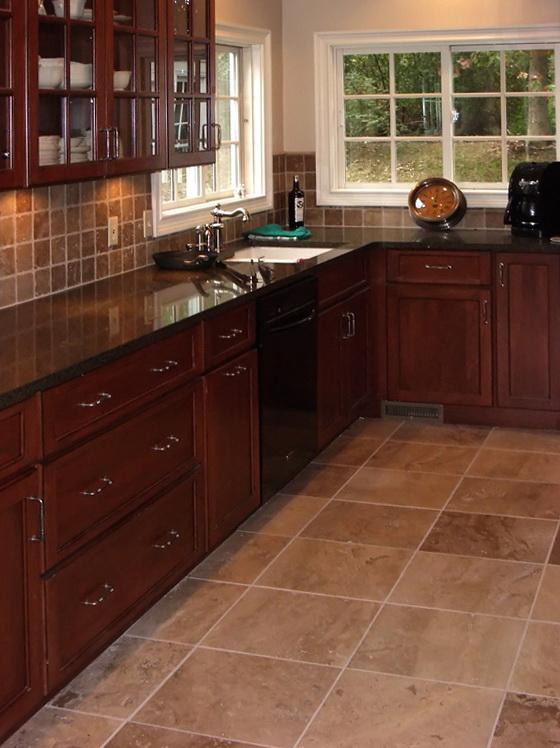 Kitchen Tile Flooring Dark Cabinets
