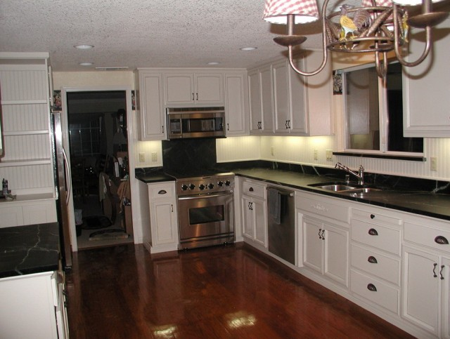 Kitchens With White Cabinets And Dark Counters