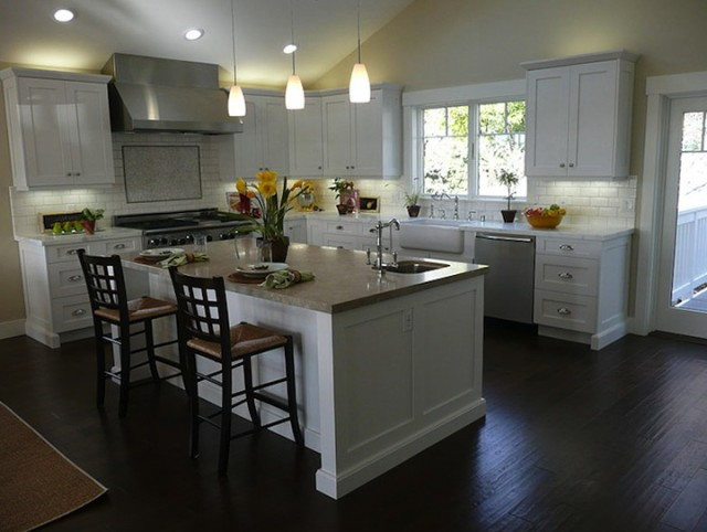 Kitchens With White Cabinets And Dark Floors