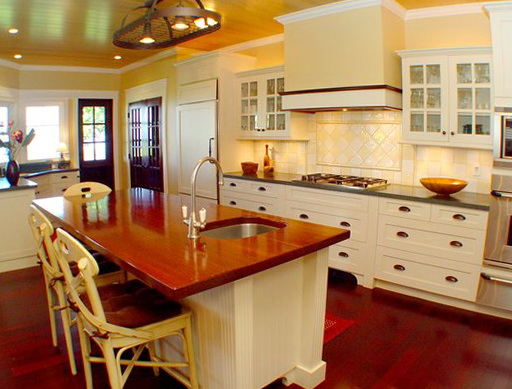 Kitchens With White Cabinets And Wood Countertops