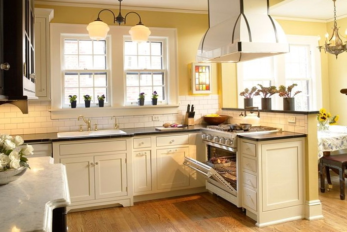 Kitchens With White Cabinets And Yellow Walls