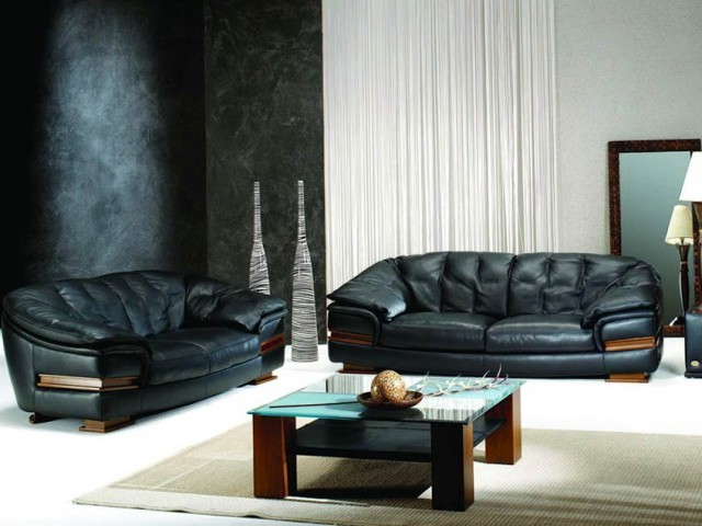 Living Room Decoration With Black Sofas