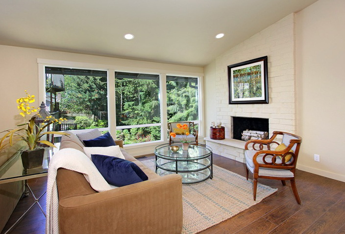 Living Room Setup With Fireplace