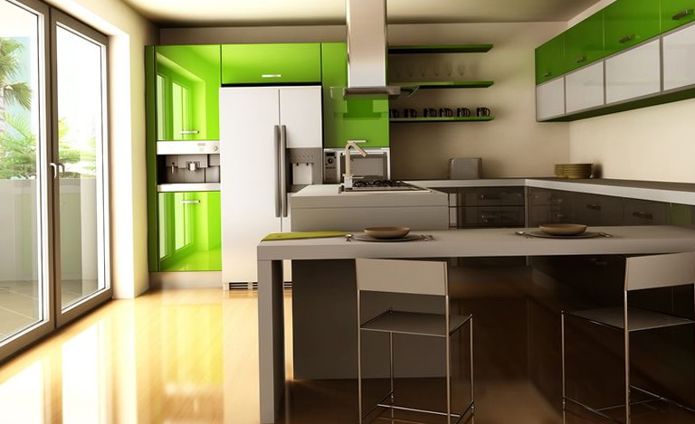 Modern Green Kitchen Cabinets