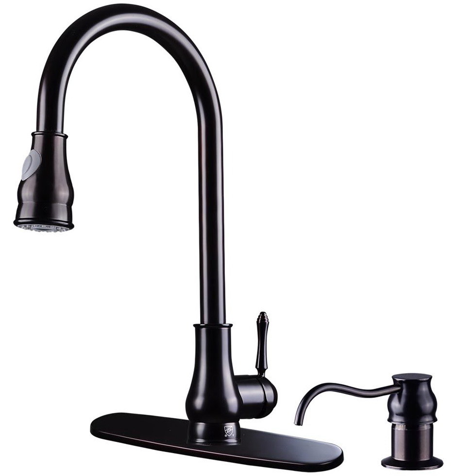 Oil Rubbed Bronze Kitchen Faucet With Pull Out Spray