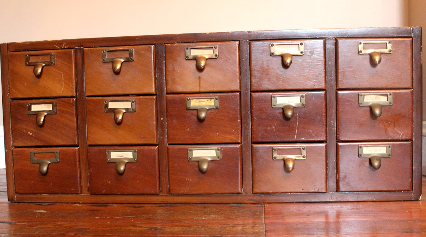 Old Library Card Catalog Cabinet For Sale