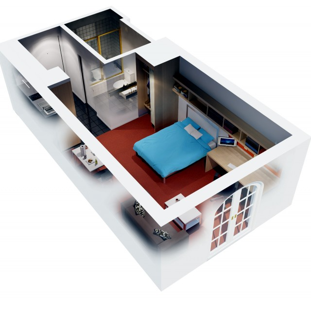 One Bedroom House Plans 3d