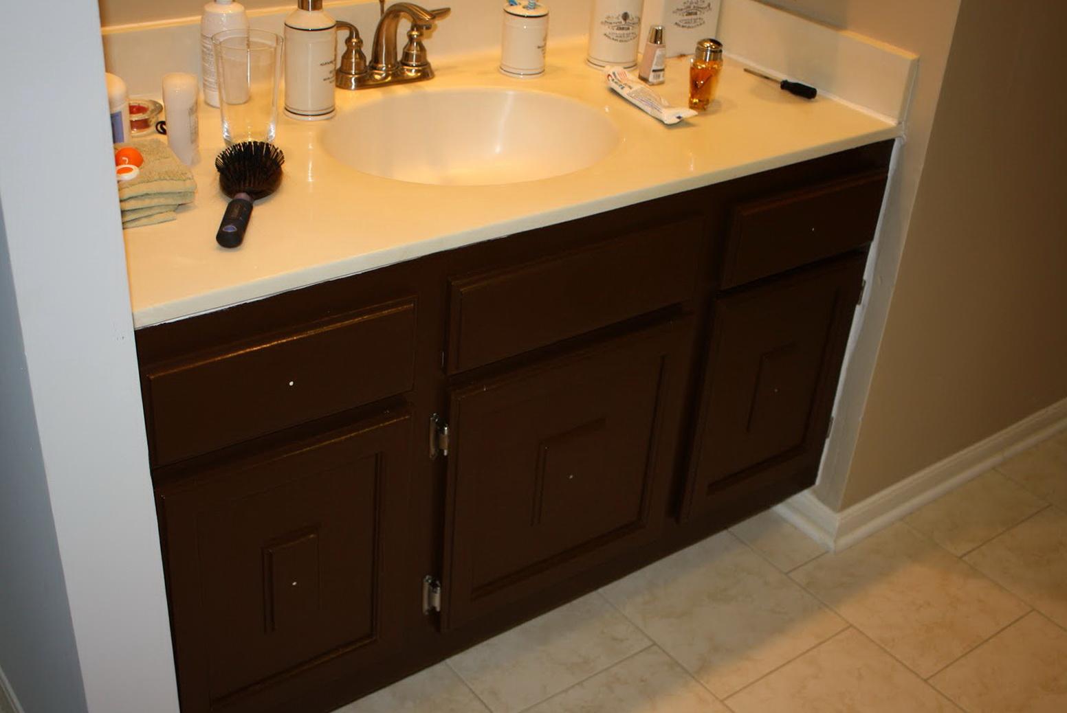 Painting Bathroom Cabinets Dark Brown