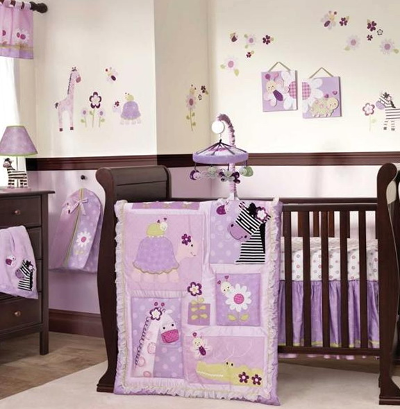 Purple Elephant Baby Bedding