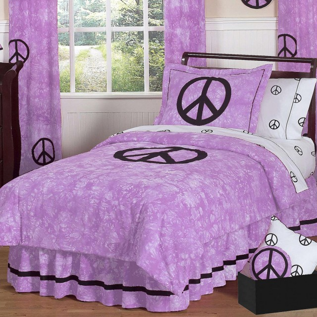 Purple Peace Sign Bedding
