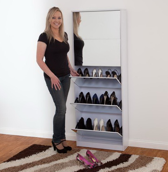Shoe Storage Cabinet With Mirror