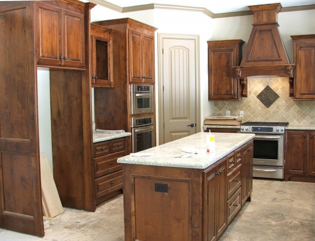 Stained Knotty Alder Cabinets