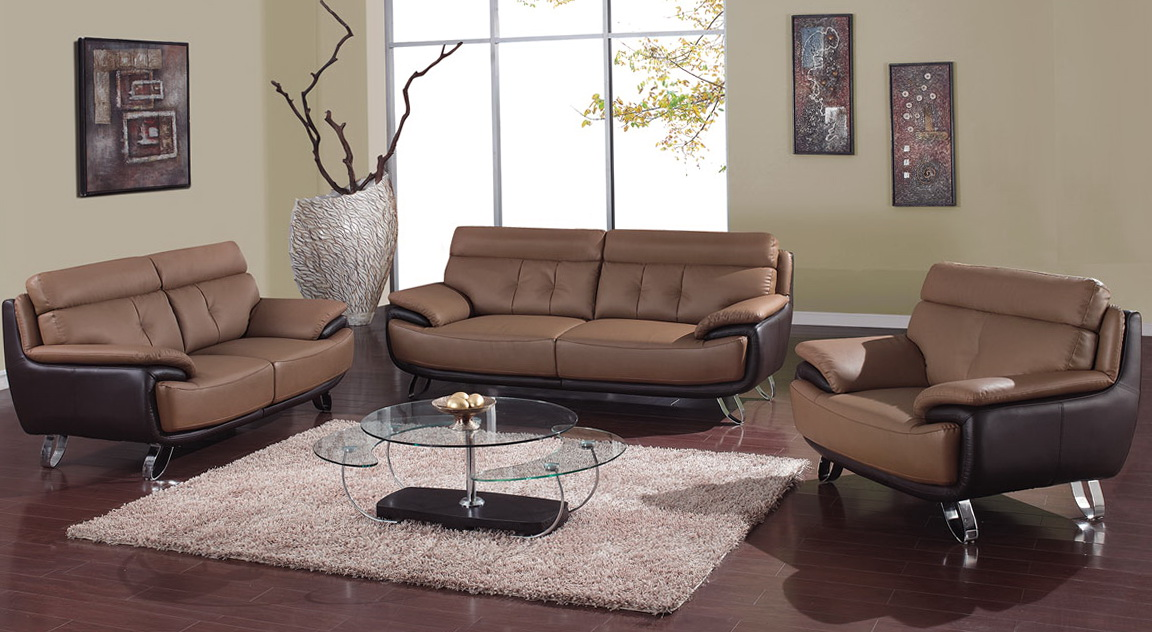 Tan Leather Living Room Set