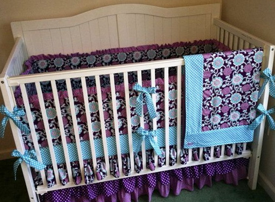 Teal And Purple Crib Bedding