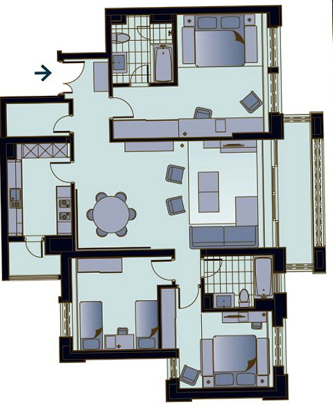 Three Bedroom Apartments Floor Plans