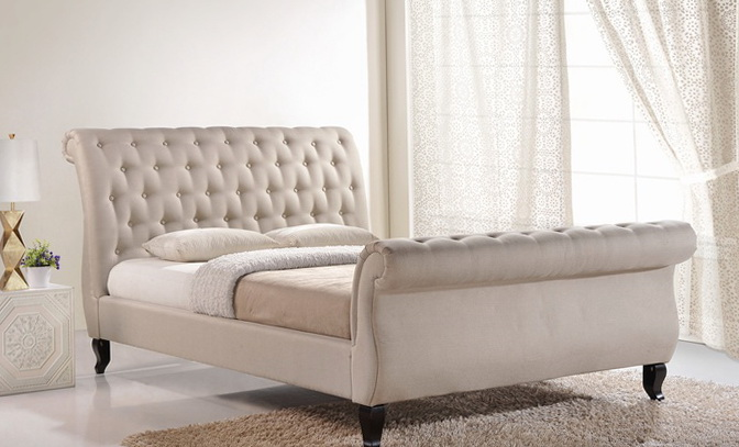 Tufted King Sleigh Bed