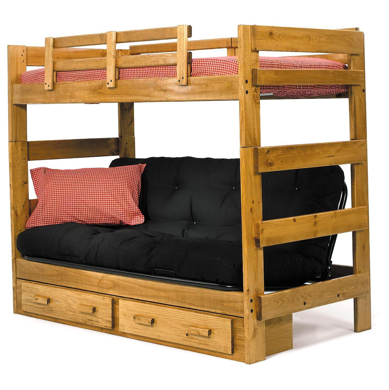 Twin Bunk Bed With Futon
