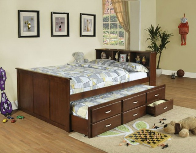 Twin Captains Bed With Bookcase Headboard