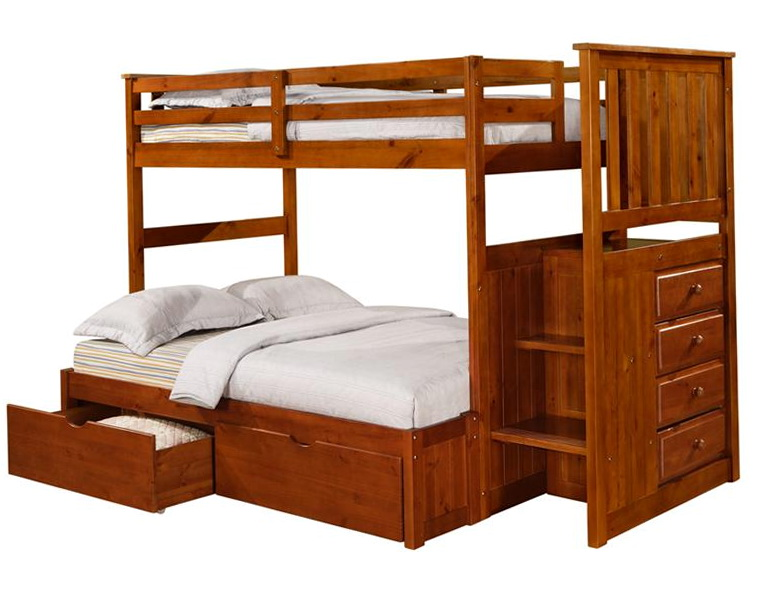 Twin Full Bunk Bed With Stairs