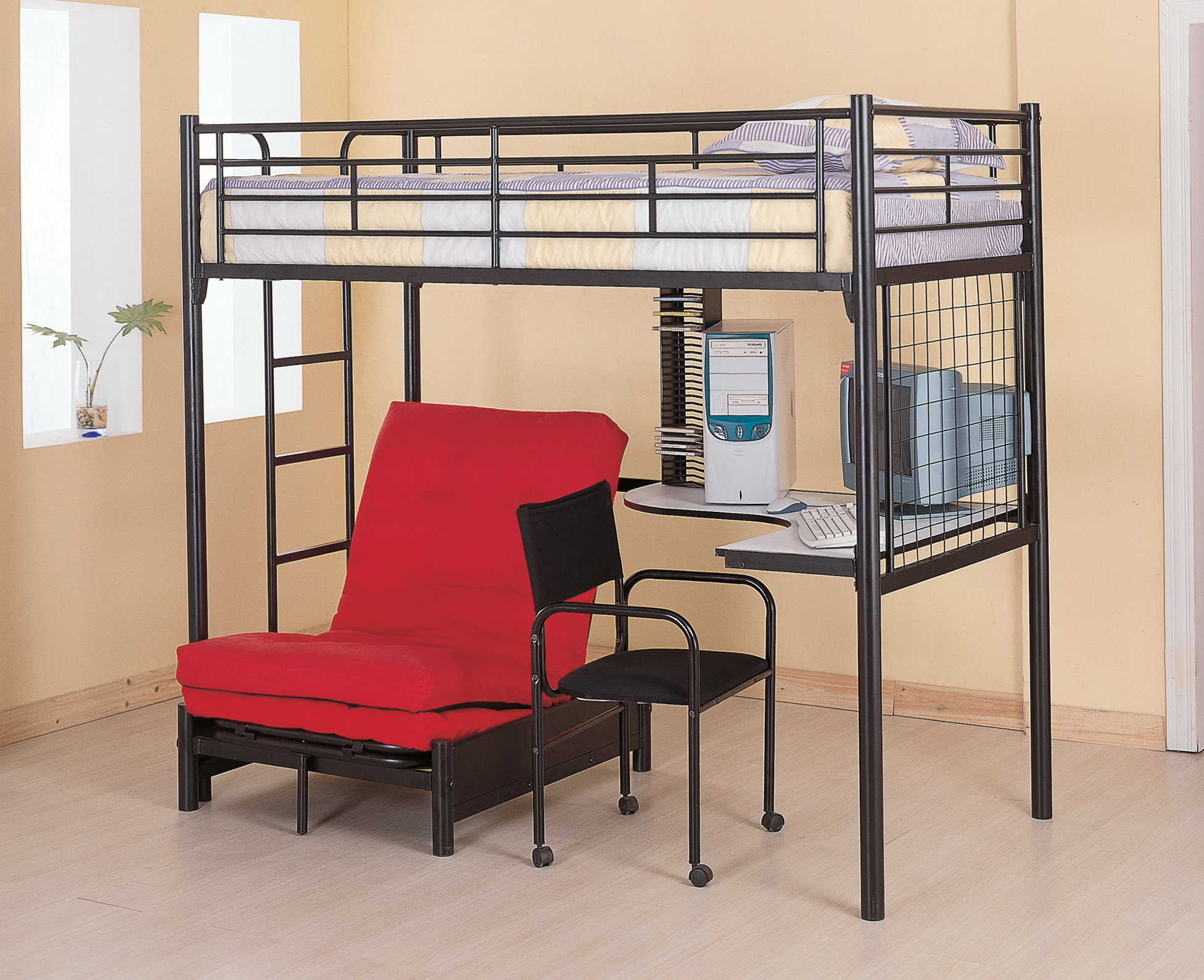Twin Loft Bed With Desk And Futon