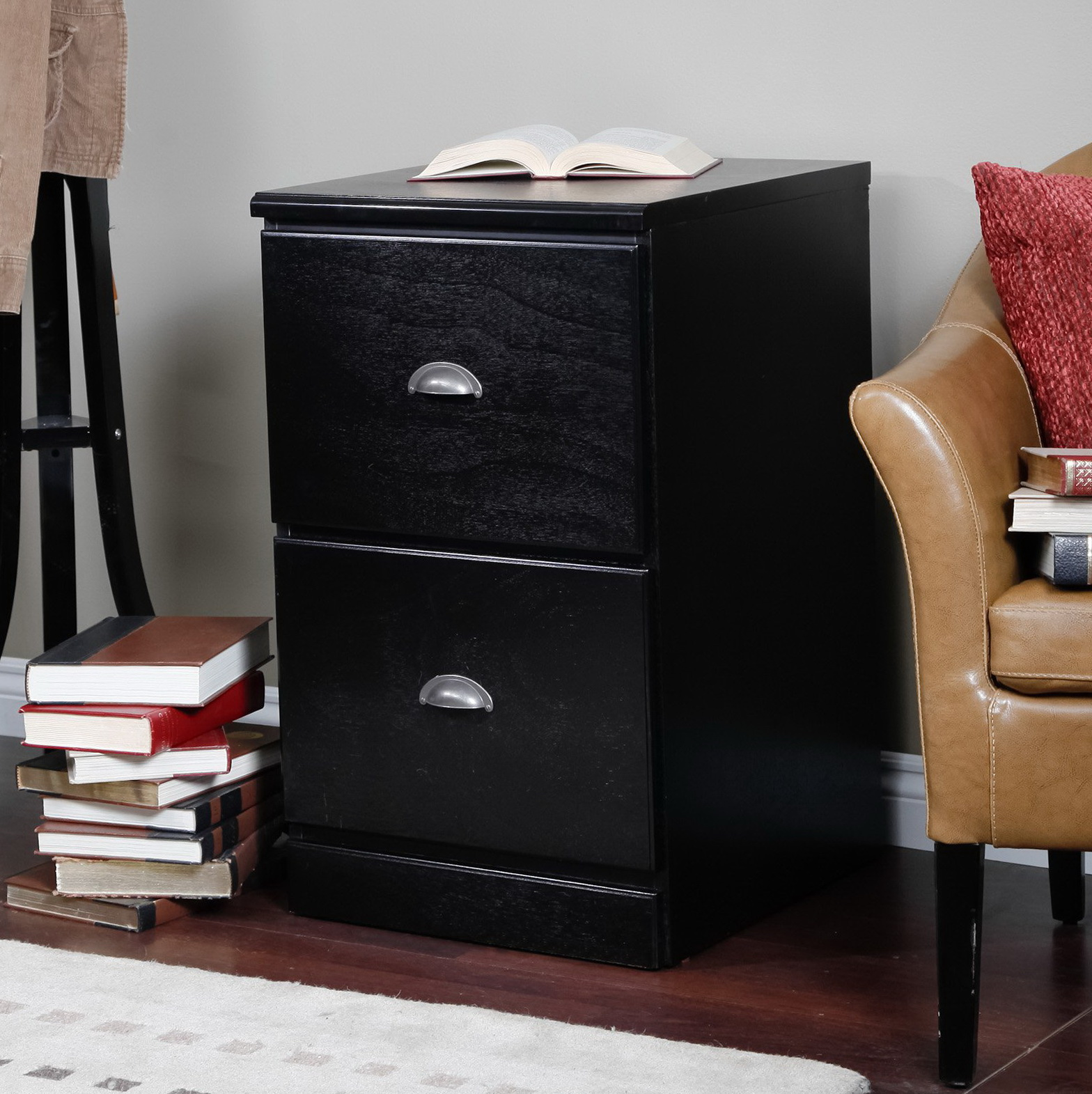 Two Drawer File Cabinet Black