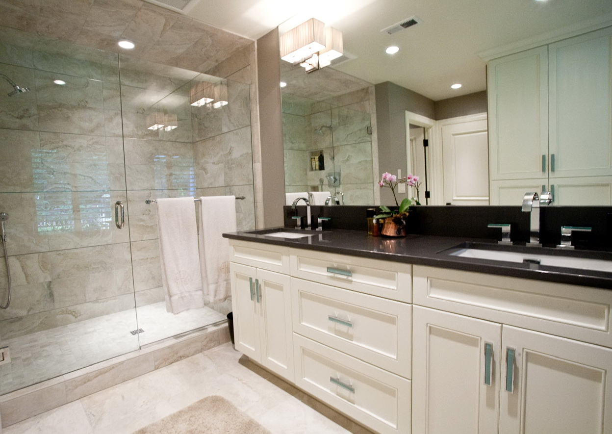 White Bathroom Vanity With Granite Top