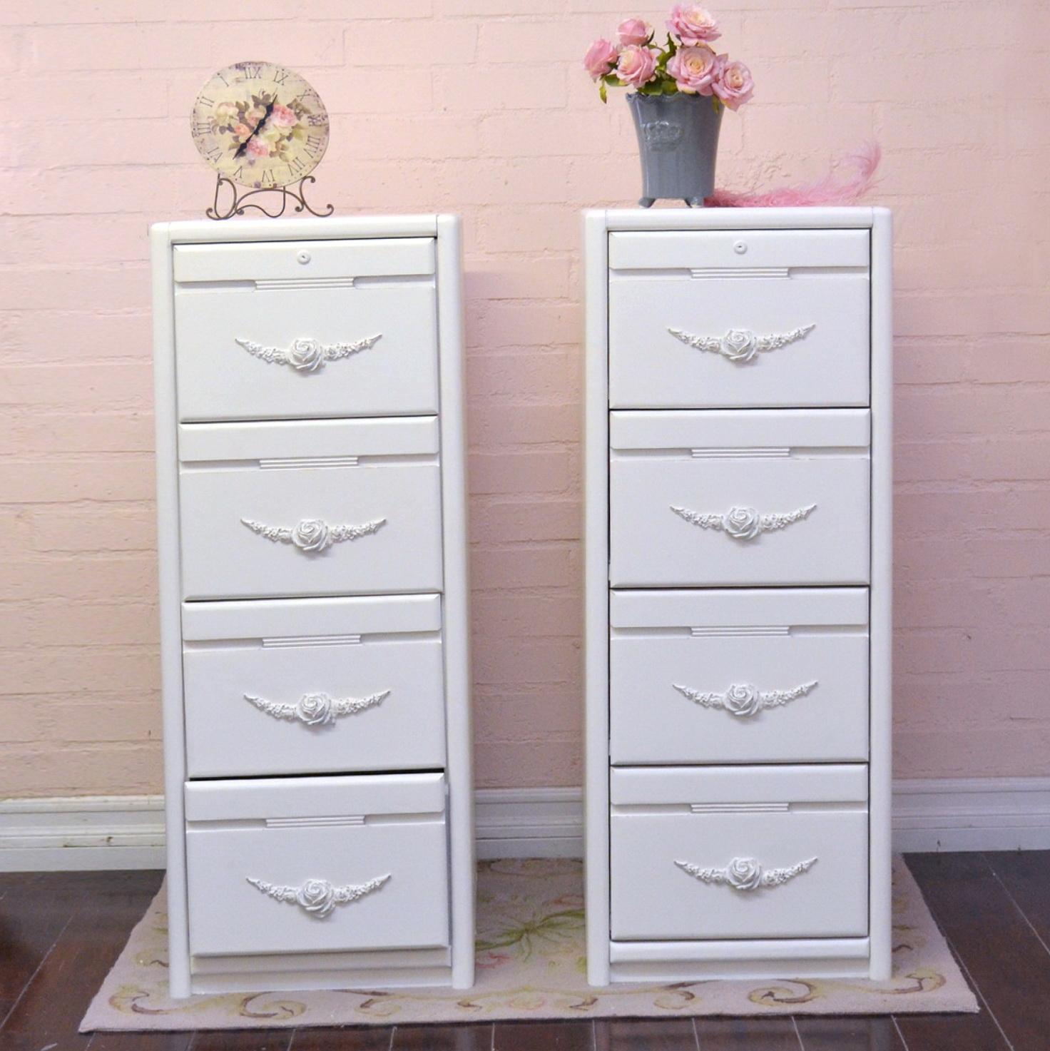 White File Cabinet 4 Drawer