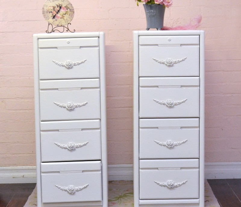 White Filing Cabinet 4 Drawer
