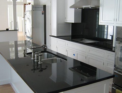 White Kitchen Cabinets Black Granite Countertops