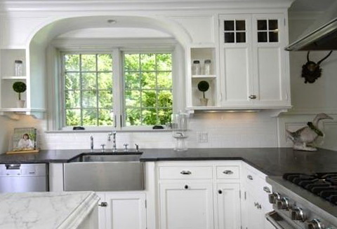 White Kitchen Cabinets With Dark Countertops