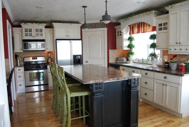 White Kitchen Island With Dark Cabinets