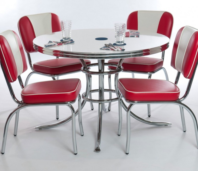 White Kitchen Table With Red Chairs