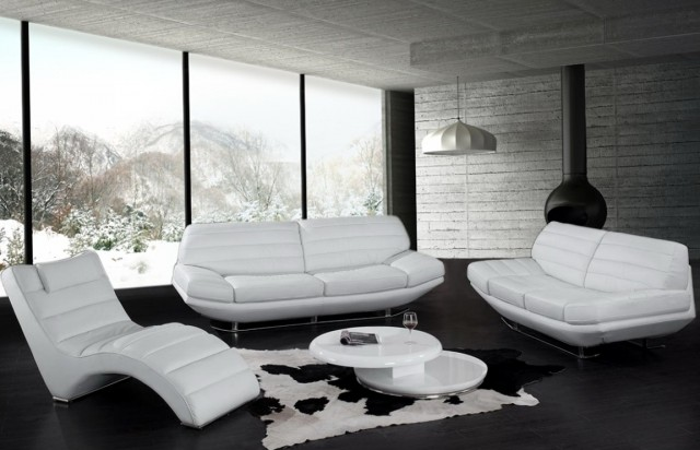 White Leather Living Room Sets