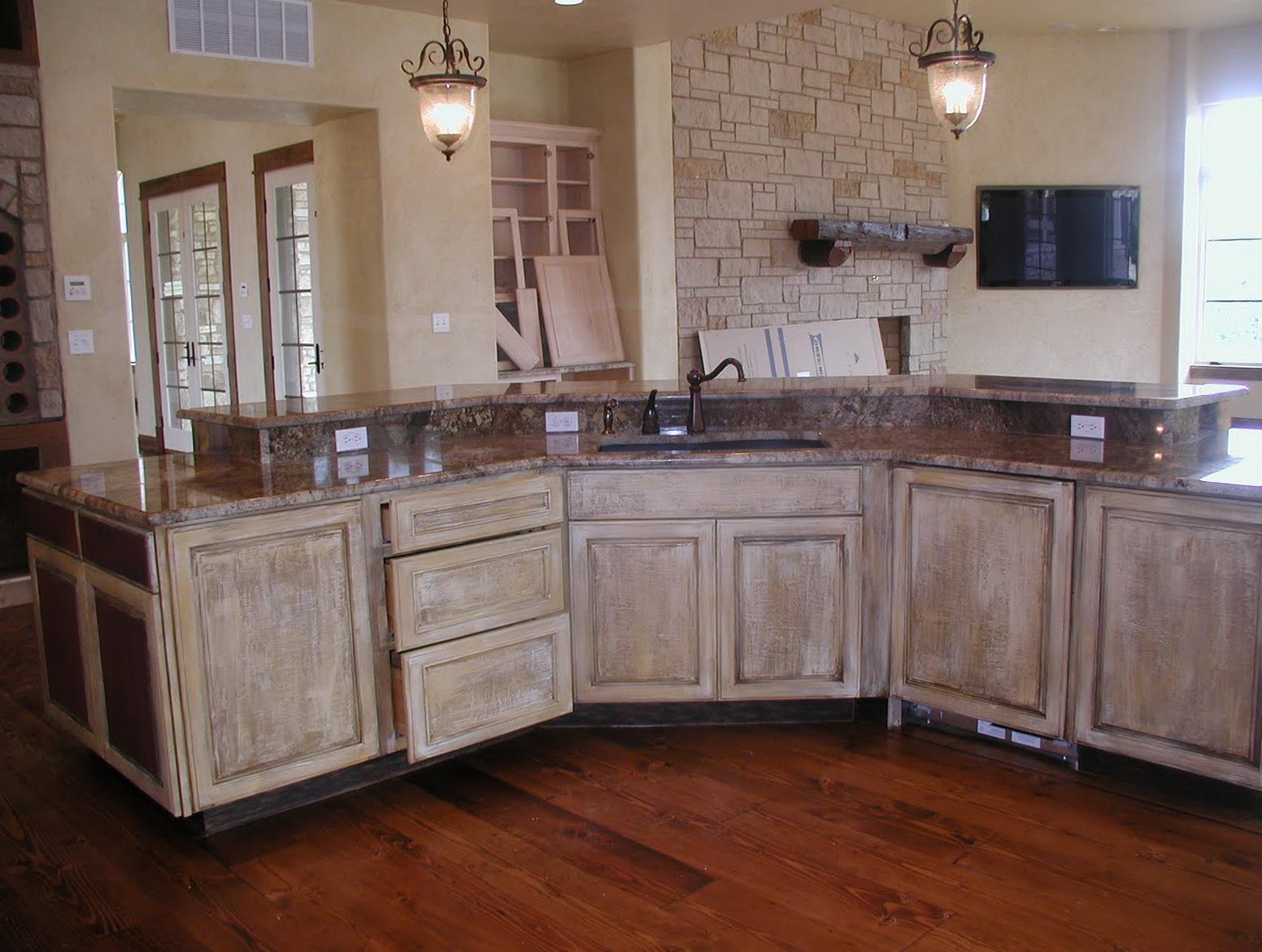 White Rustic Kitchen Cabinets
