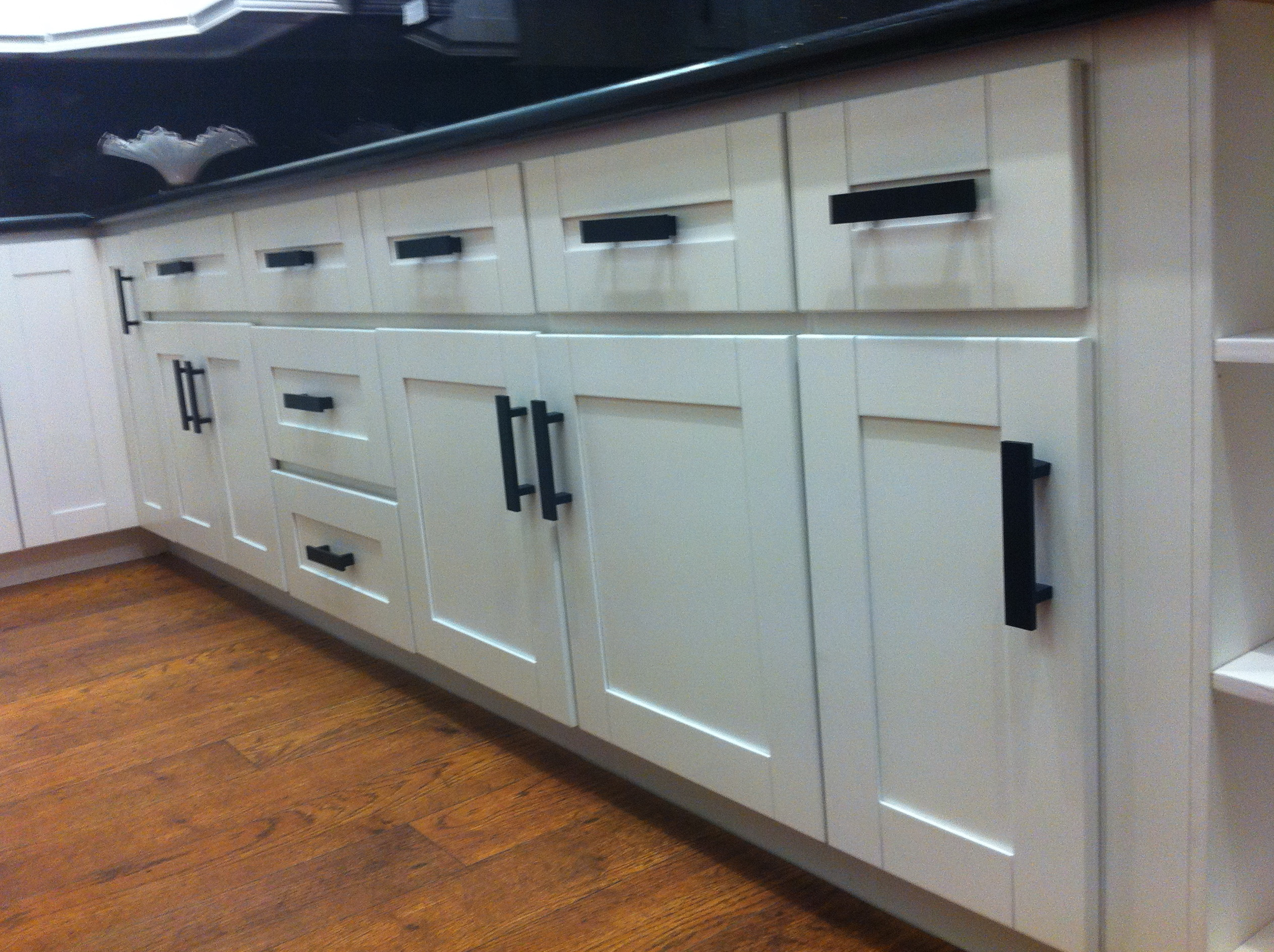 White Shaker Cabinets With Black Countertops
