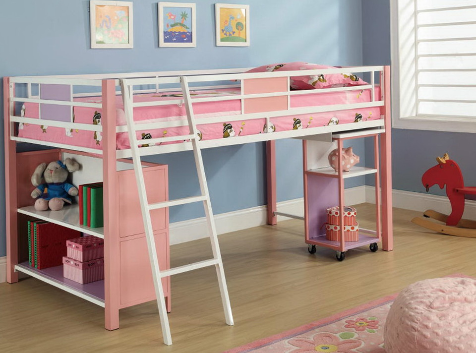 White Twin Loft Bed With Desk