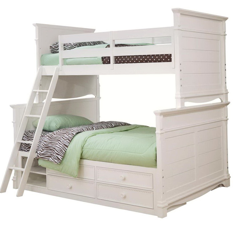 White Twin Over Full Bunk Beds