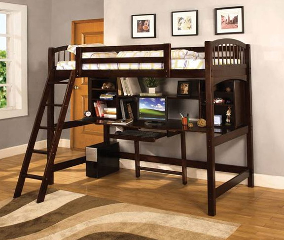 Wood Loft Bed With Desk Underneath