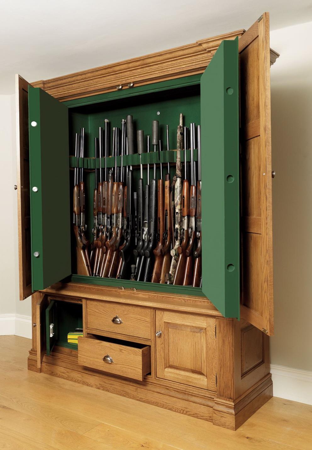 Wooden Gun Cabinet With Deer Etching