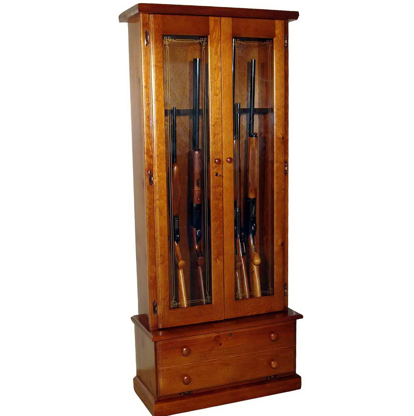 Wooden Gun Cabinet With Etched Glass