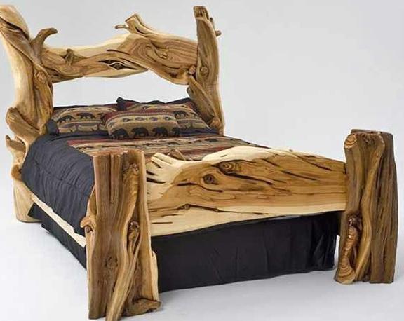Wooden Log Bed Frames